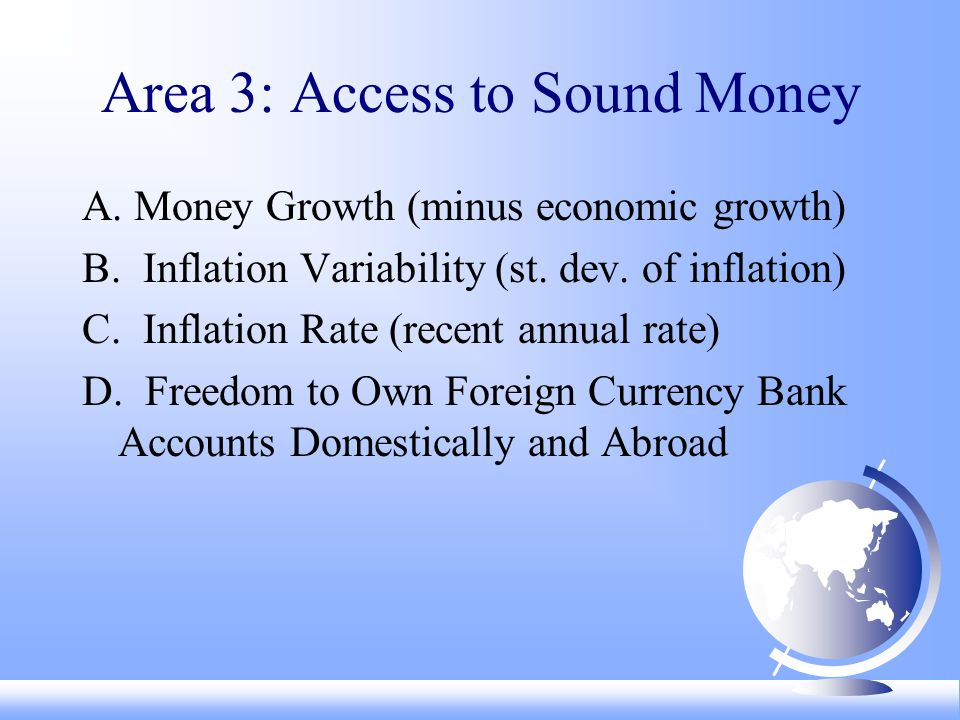 Area 3: Access to Sound Money A. Money Growth (minus economic growth) B.