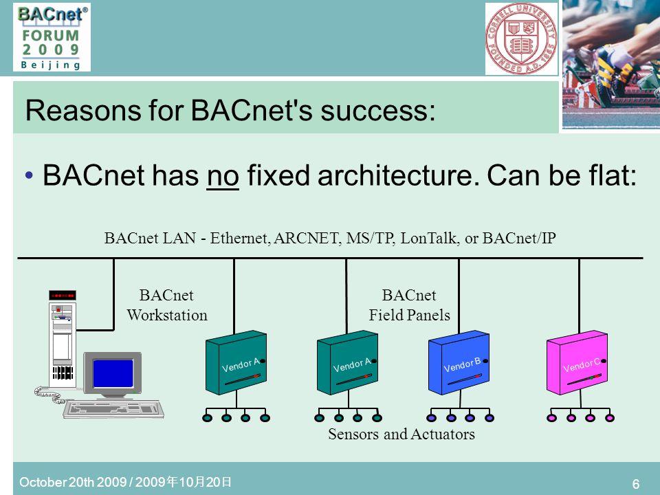 October 20th 2009 / 2009 10 20 7 Reasons for BACnet s success: Or BACnet networks can be hierarchical: BACnet LAN - Ethernet BACnet Field Panel BACnet Workstation Vendor A Sensors and Actuators Vendor C Vendor C BACnet LAN - ARCNET Sensors and Actuators Ethernet to ARCNET Router Vendor B B BACnet Field Panels BACnet Field Panels Ethernet to MS/TP Router BACnet LAN - MS/TP Sensors and Actuators Net 1 Net 3 Net 2