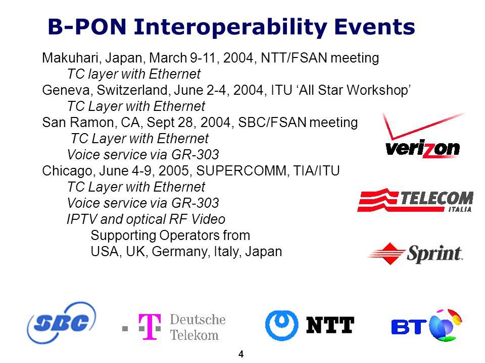 ITU-T 4 B-PON Interoperability Events Makuhari, Japan, March 9-11, 2004, NTT/FSAN meeting TC layer with Ethernet Geneva, Switzerland, June 2-4, 2004,