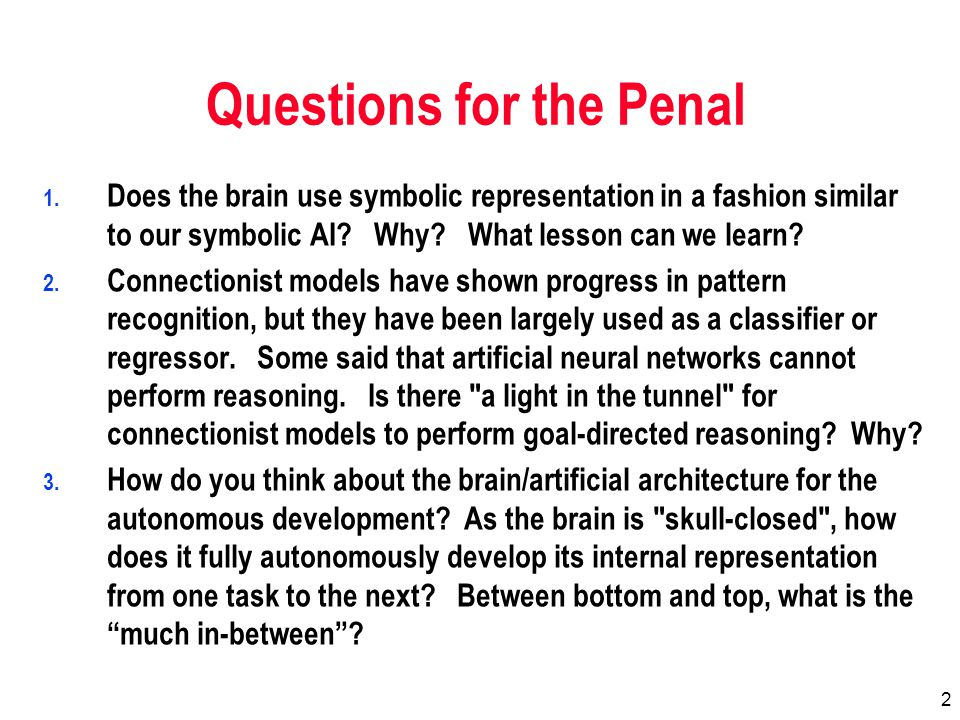 3 Questions for the Penal 1.