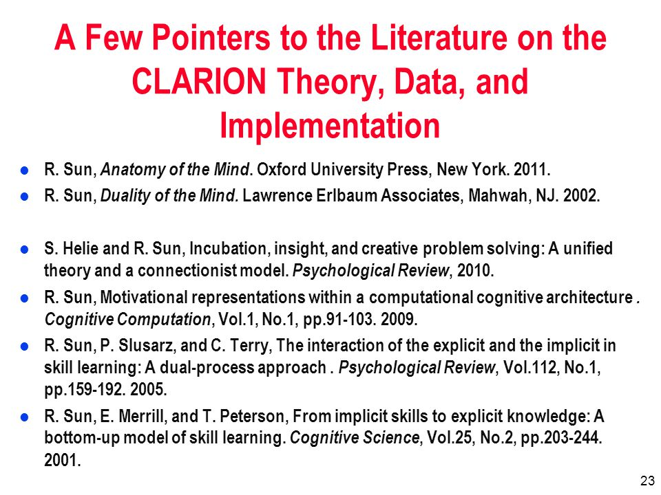 23 A Few Pointers to the Literature on the CLARION Theory, Data, and Implementation l R.