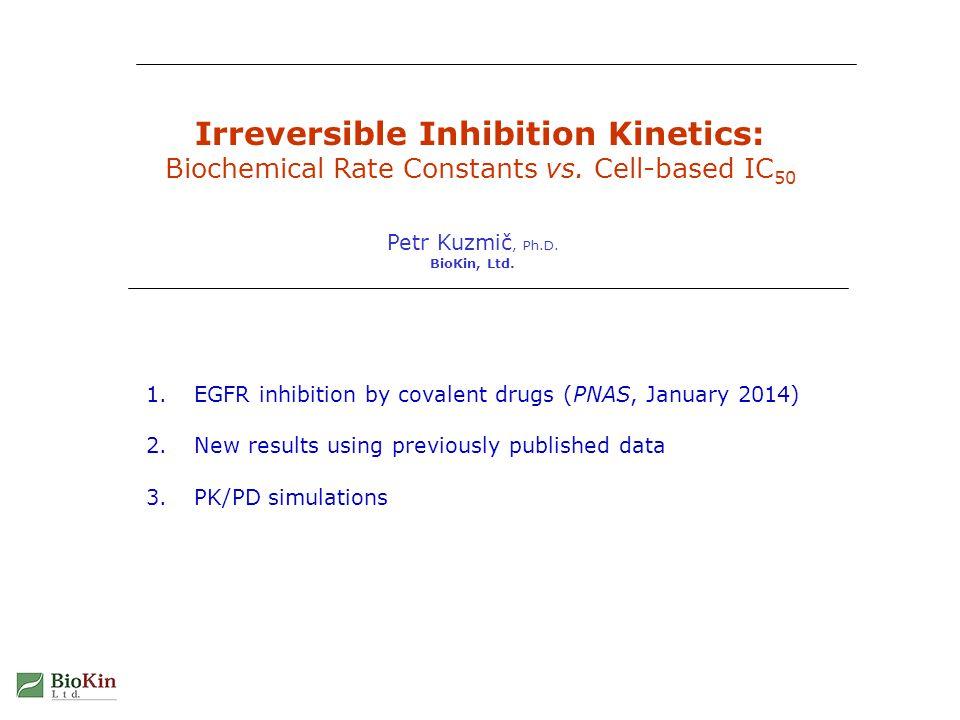 Irreversible Inhibition Kinetics22 Possible cellular mechanism in DynaFit software DYNAFIT USES SYMBOLIC REPRESENTATION OF ARBITRARY MOLECULAR MECHANISM [task] task = simulate data = progress [mechanism] E + I E.I : kon koff E.I ---> E~I : kinact I ---> X : kout ---> E : ksyn E ---> X : kdeg E~I ---> X : kdeg...