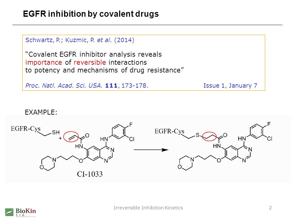 Irreversible Inhibition Kinetics13 EGFR inhibition by covalent drugs: Summary 1.Both binding and reactivity are important for cellular potency 2.Initial binding seems more important by R 2 test 3.Chemical structure of warhead has only minor effect on k inact - Wide variation of k inact for the same structure - Similar k inact for different warhead structures Warhead alone is not a silver bullet.
