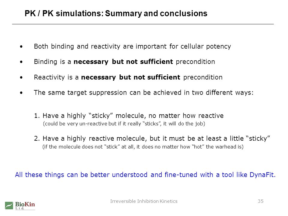 Irreversible Inhibition Kinetics35 PK / PK simulations: Summary and conclusions Both binding and reactivity are important for cellular potency Binding