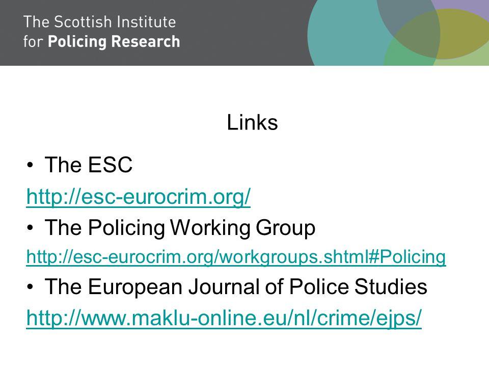 Links The ESC http://esc-eurocrim.org/ The Policing Working Group http://esc-eurocrim.org/workgroups.shtml#Policing The European Journal of Police Studies http://www.maklu-online.eu/nl/crime/ejps/
