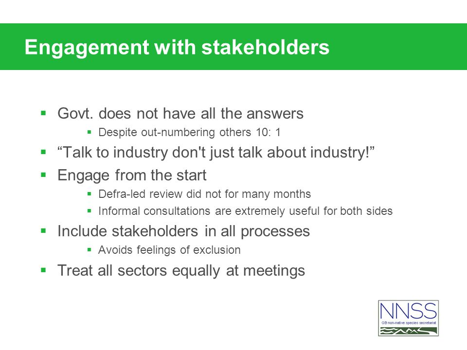 Engagement with stakeholders Govt.