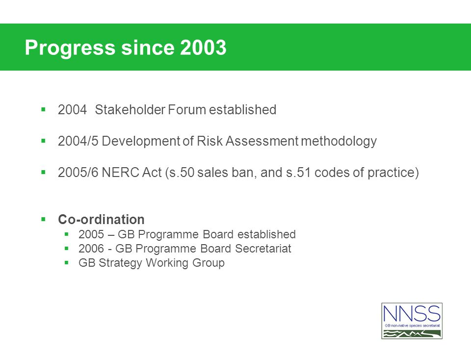 Progress since 2003 2004 Stakeholder Forum established 2004/5 Development of Risk Assessment methodology 2005/6 NERC Act (s.50 sales ban, and s.51 cod