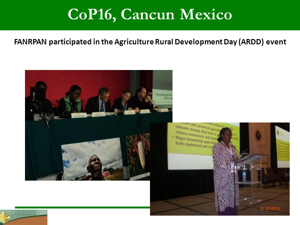 FANRPAN participated in the Agriculture Rural Development Day (ARDD) event CoP16, Cancun Mexico