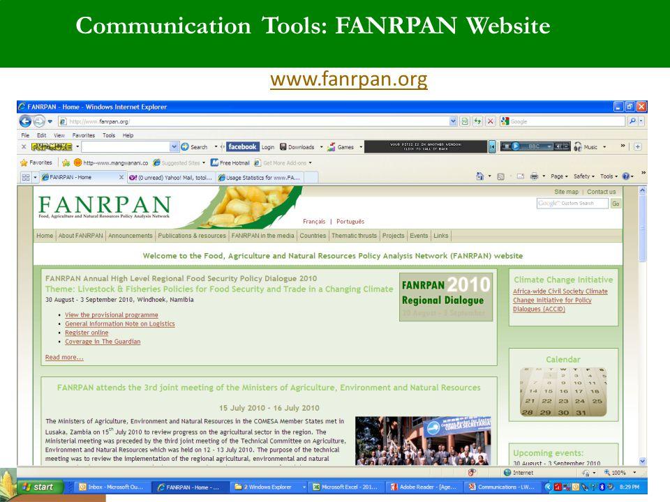 Communication Tools: FANRPAN Website www.fanrpan.org