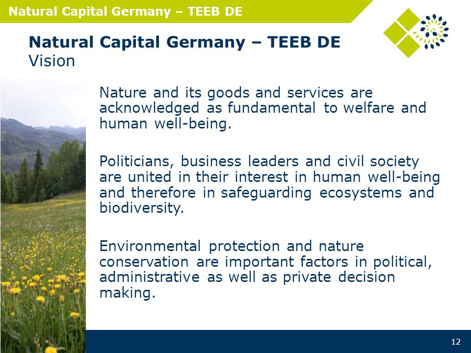 Natural Capital Germany – TEEB DE Natural Capital Germany – TEEB DE Vision Nature and its goods and services are acknowledged as fundamental to welfare and human well-being.
