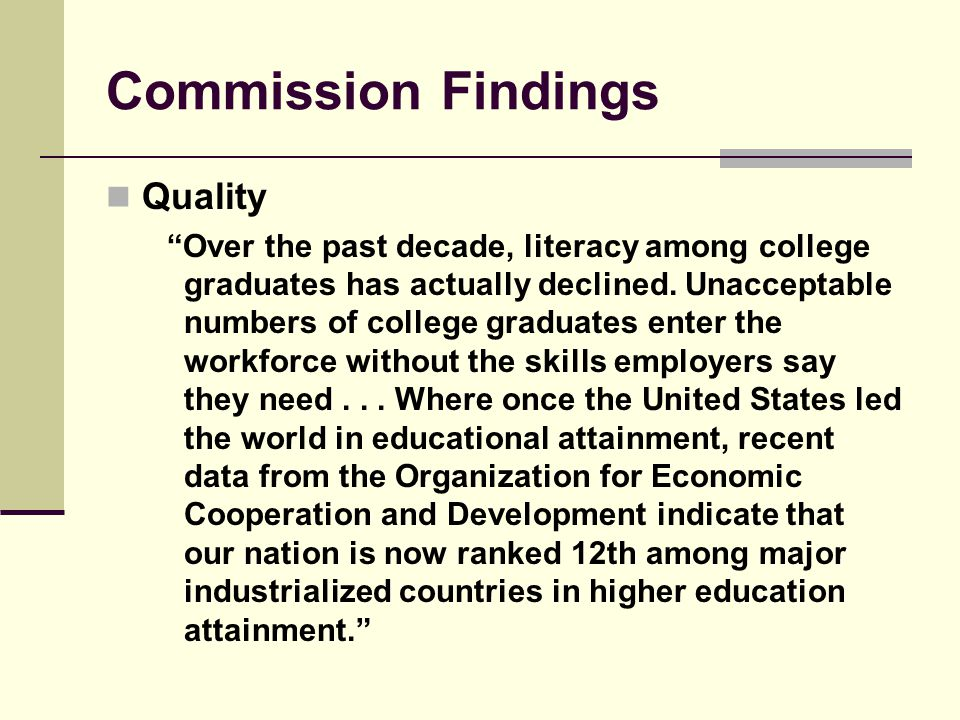 Commission Findings Quality Over the past decade, literacy among college graduates has actually declined.