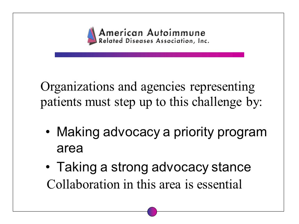 Organizations and agencies representing patients must step up to this challenge by: Making advocacy a priority program area Taking a strong advocacy s