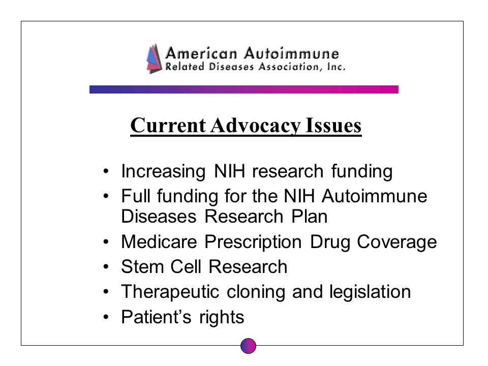 Current Advocacy Issues Increasing NIH research funding Full funding for the NIH Autoimmune Diseases Research Plan Medicare Prescription Drug Coverage