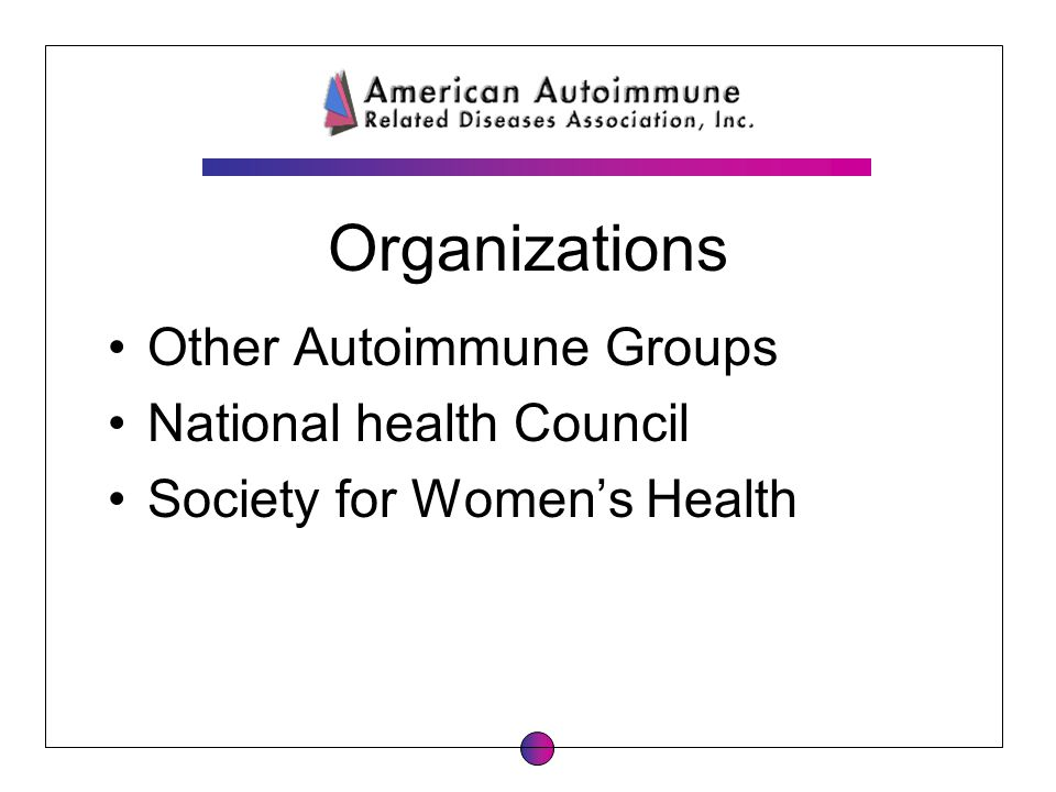 Organizations Other Autoimmune Groups National health Council Society for Womens Health