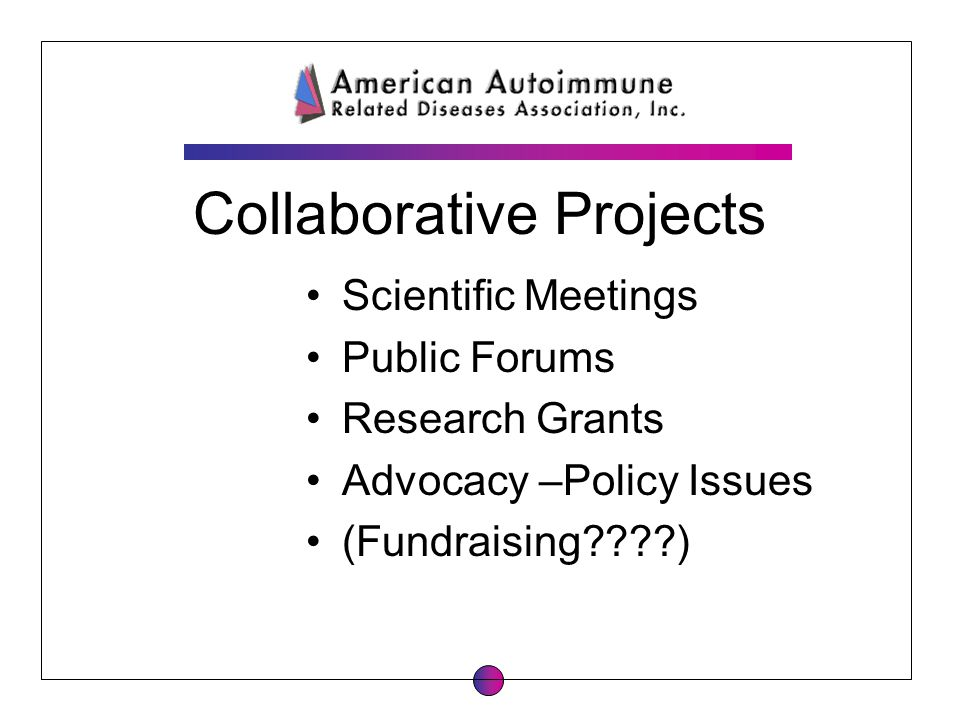 Collaborative Projects Scientific Meetings Public Forums Research Grants Advocacy –Policy Issues (Fundraising????)