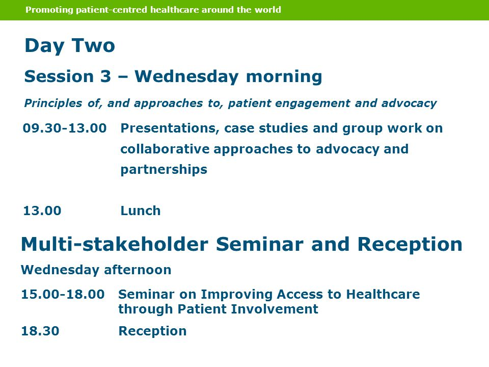 Promoting patient-centred healthcare around the world Day Two Session 3 – Wednesday morning Principles of, and approaches to, patient engagement and a