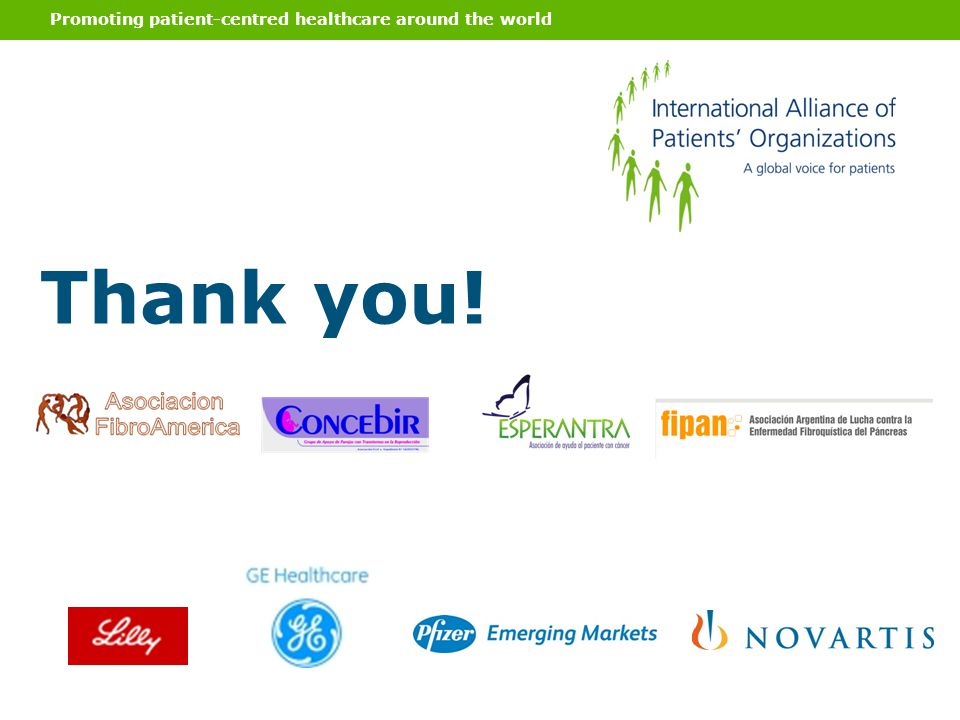Promoting patient-centred healthcare around the world Thank you!