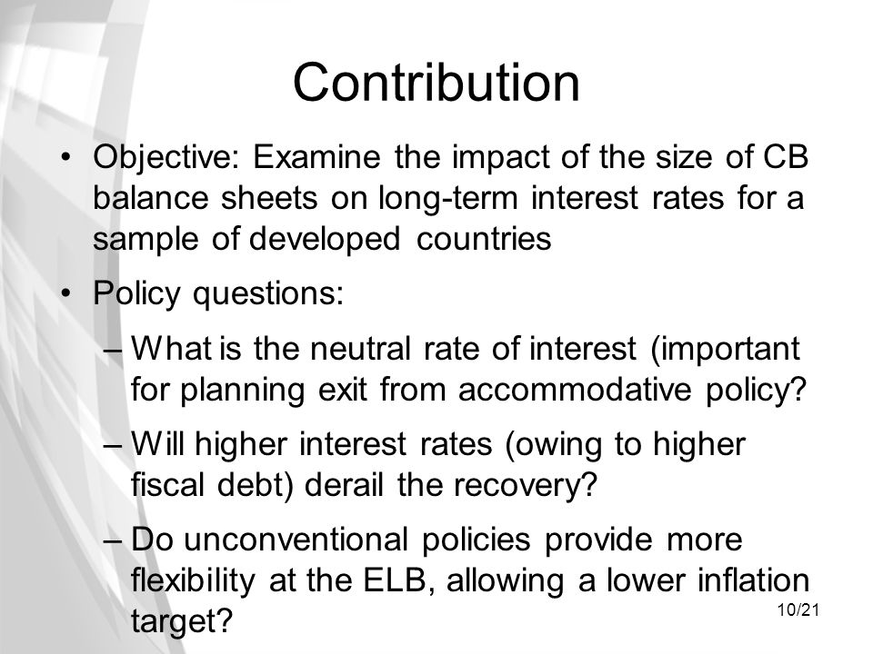 10/21 Contribution Objective: Examine the impact of the size of CB balance sheets on long-term interest rates for a sample of developed countries Poli