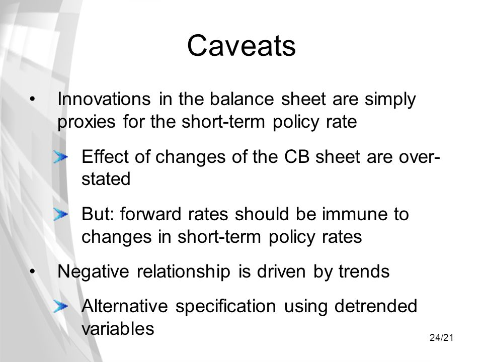 24/21 Caveats Innovations in the balance sheet are simply proxies for the short-term policy rate Effect of changes of the CB sheet are over- stated Bu