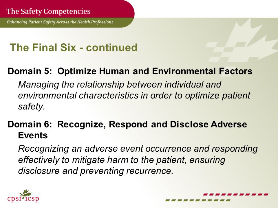 The Final Six - continued Domain 5: Optimize Human and Environmental Factors Managing the relationship between individual and environmental characteristics in order to optimize patient safety.