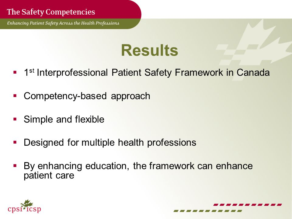 Results 1 st Interprofessional Patient Safety Framework in Canada Competency-based approach Simple and flexible Designed for multiple health professions By enhancing education, the framework can enhance patient care