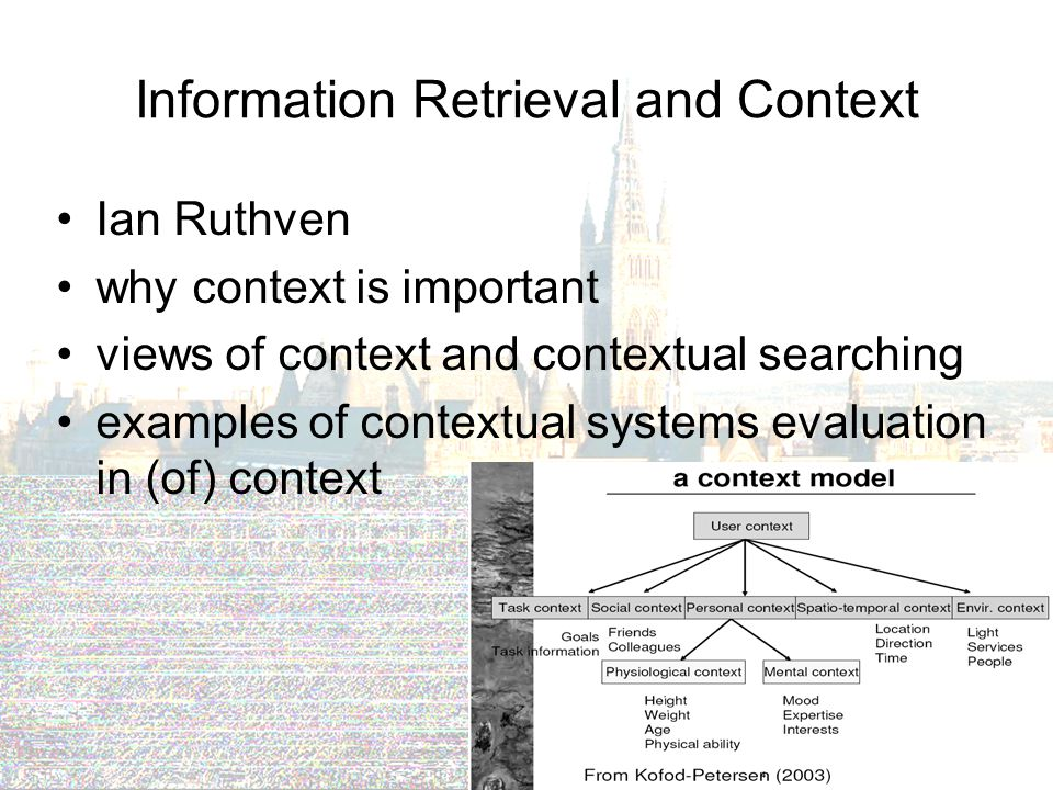 Information Retrieval and Context Ian Ruthven why context is important views of context and contextual searching examples of contextual systems evaluation in (of) context