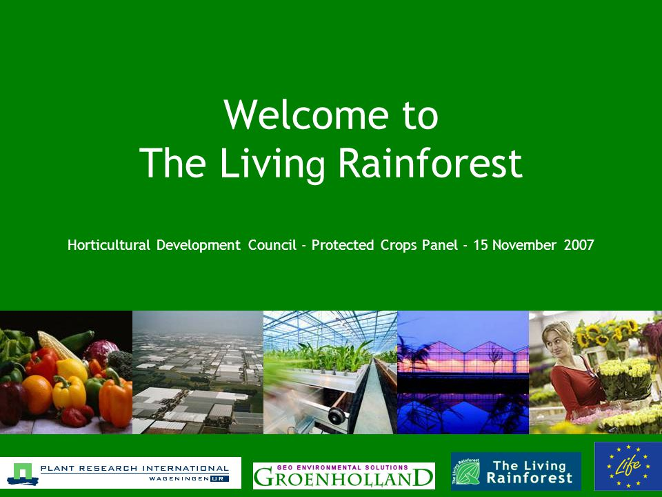 Welcome to The Livin g Rainforest Horticultural Development Council - Protected Crops Panel - 15 November 2007