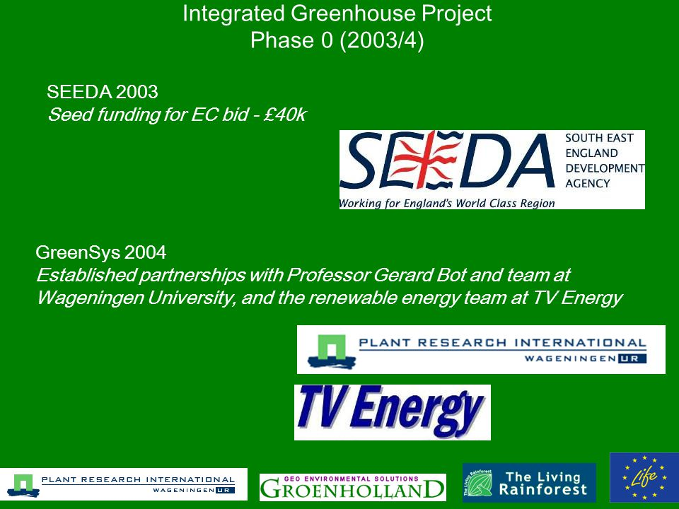 Integrated Greenhouse Project Phase 0 (2003/4) SEEDA 2003 Seed funding for EC bid - £40k GreenSys 2004 Established partnerships with Professor Gerard Bot and team at Wageningen University, and the renewable energy team at TV Energy