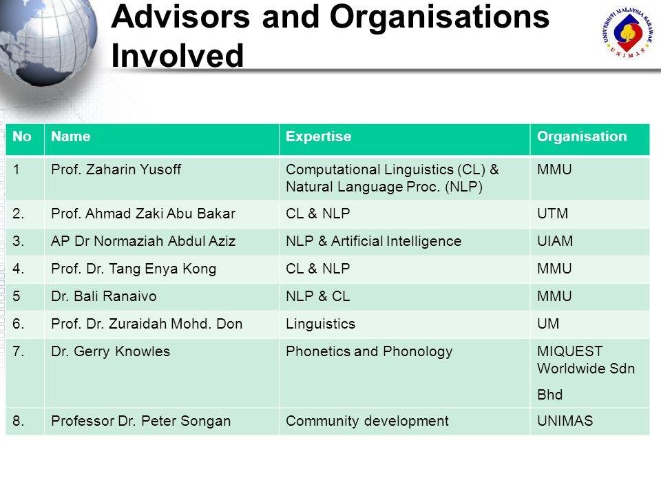 Advisors and Organisations Involved NoNameExpertiseOrganisation 1Prof. Zaharin YusoffComputational Linguistics (CL) & Natural Language Proc. (NLP) MMU