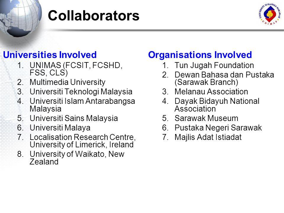Collaborators Organisations Involved 1.Tun Jugah Foundation 2.Dewan Bahasa dan Pustaka (Sarawak Branch) 3.Melanau Association 4.Dayak Bidayuh National