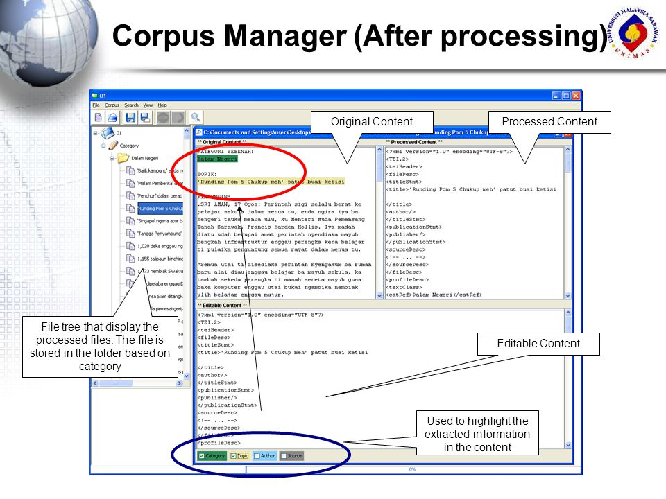 Corpus Manager (After processing) Editable Content Used to highlight the extracted information in the content File tree that display the processed fil
