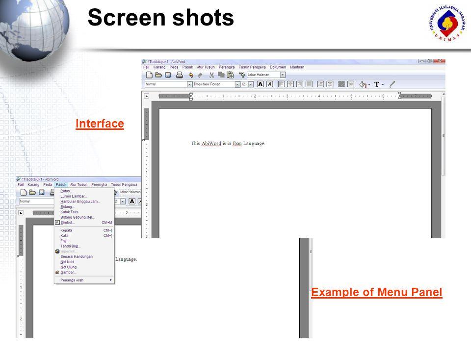 Screen shots Interface Example of Menu Panel