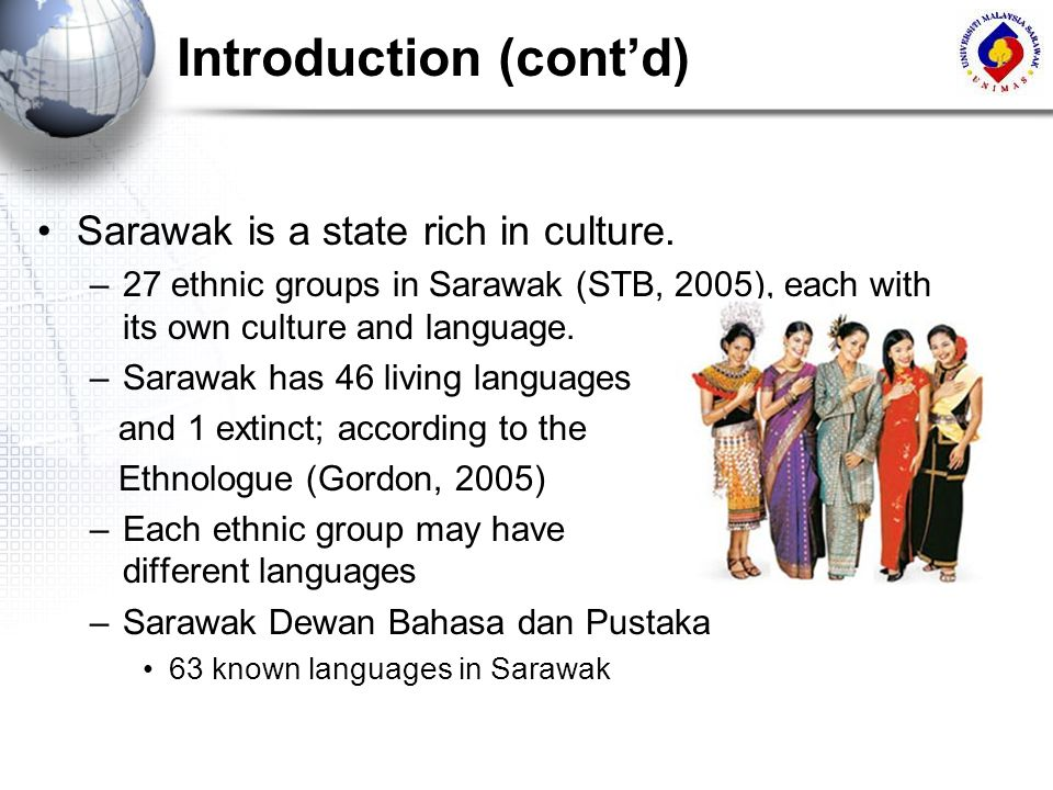 Introduction (contd) Sarawak is a state rich in culture. –27 ethnic groups in Sarawak (STB, 2005), each with its own culture and language. –Sarawak ha