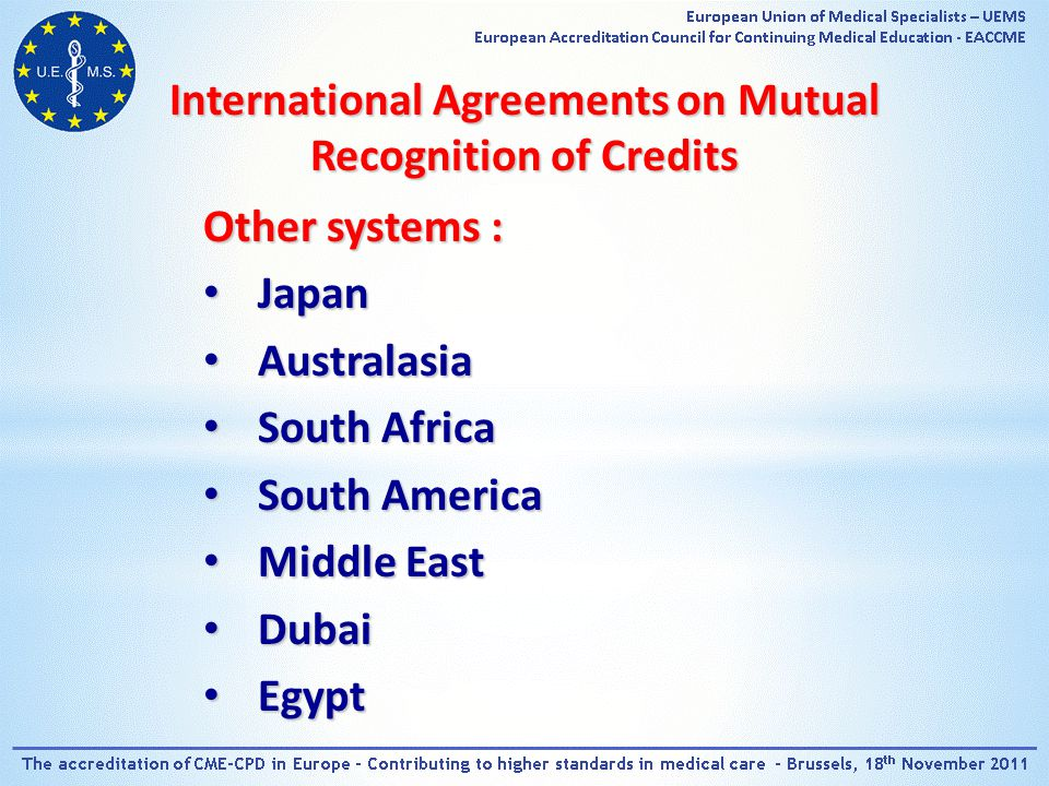 International Agreements on Mutual Recognition of Credits Other systems : Japan Japan Australasia Australasia South Africa South Africa South America South America Middle East Middle East Dubai Dubai Egypt Egypt