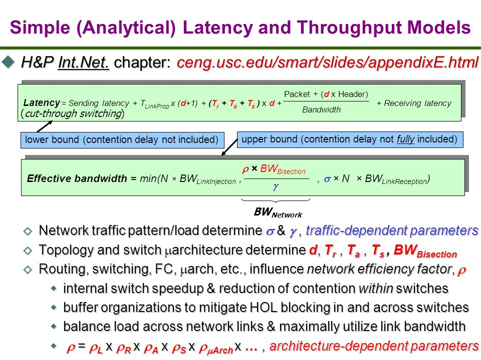 Latency = Sending latency + T LinkProp x (d+1) + (T r + T a + T s ) x d + + Receiving latency Packet + (d x Header) Bandwidth (cut-through switching) lower bound (contention delay not included) BW Network Effective bandwidth = min(N × BW LinkInjection,, × N × BW LinkReception ) × BW Bisection upper bound (contention delay not fully included) H&P Int.Net.