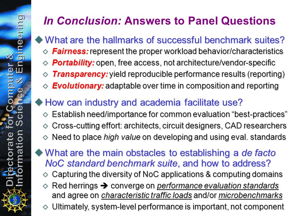 What are the hallmarks of successful benchmark suites.