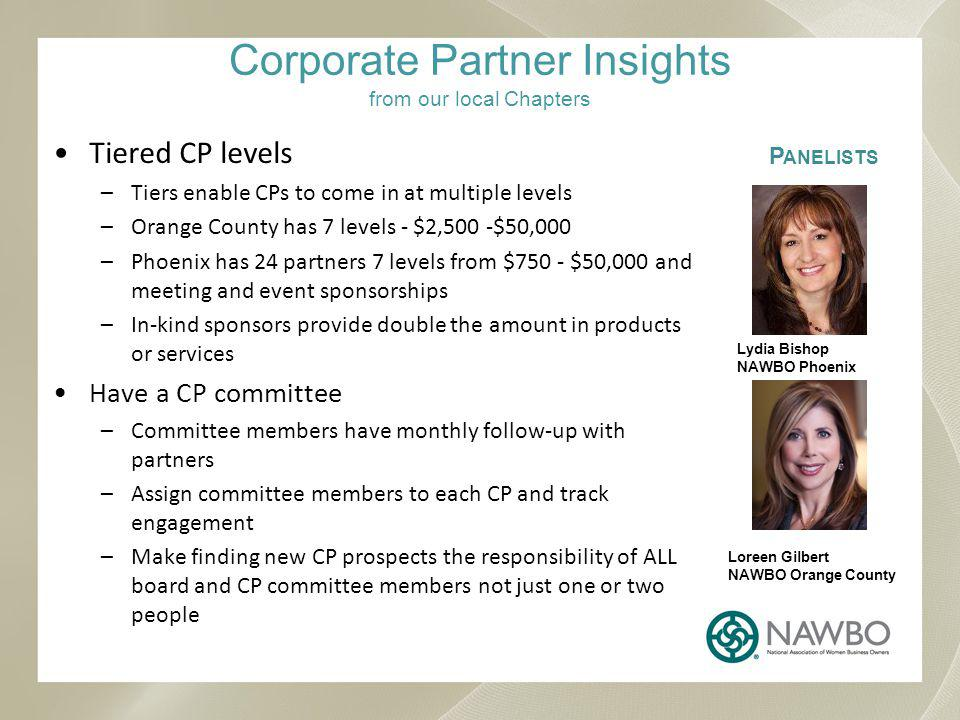 Corporate Partner Insights from our local Chapters Tiered CP levels –Tiers enable CPs to come in at multiple levels –Orange County has 7 levels - $2,500 -$50,000 –Phoenix has 24 partners 7 levels from $750 - $50,000 and meeting and event sponsorships –In-kind sponsors provide double the amount in products or services Have a CP committee –Committee members have monthly follow-up with partners –Assign committee members to each CP and track engagement –Make finding new CP prospects the responsibility of ALL board and CP committee members not just one or two people P ANELISTS Lydia Bishop NAWBO Phoenix Loreen Gilbert NAWBO Orange County