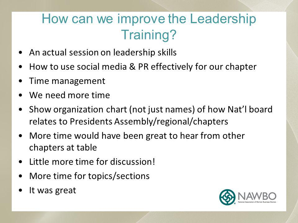 How can we improve the Leadership Training.