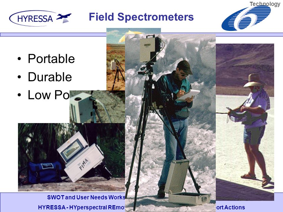 SWOT and User Needs Workshop, DLR Oberpfaffenhofen, 5-6 July 2006 HYRESSA - HYperspectral REmote Sensing in Europe specific Support Actions Portable Durable Low Power Consumption Technology Field Spectrometers