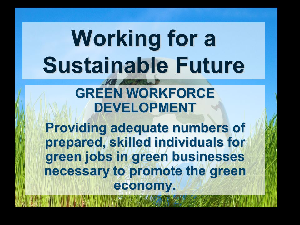 Working for a Sustainable Future GREEN WORKFORCE DEVELOPMENT Providing adequate numbers of prepared, skilled individuals for green jobs in green businesses necessary to promote the green economy.