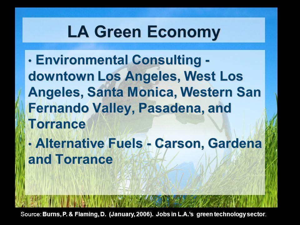 LA Green Economy Environmental Consulting - downtown Los Angeles, West Los Angeles, Santa Monica, Western San Fernando Valley, Pasadena, and Torrance
