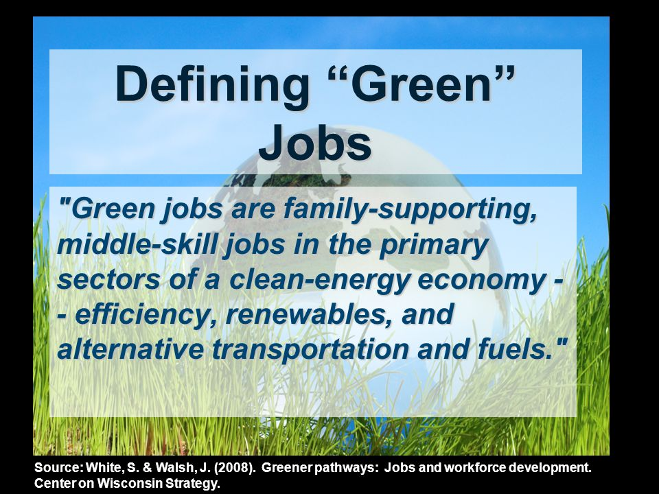 Working for a Sustainable Future DEMAND for a Green Workforce