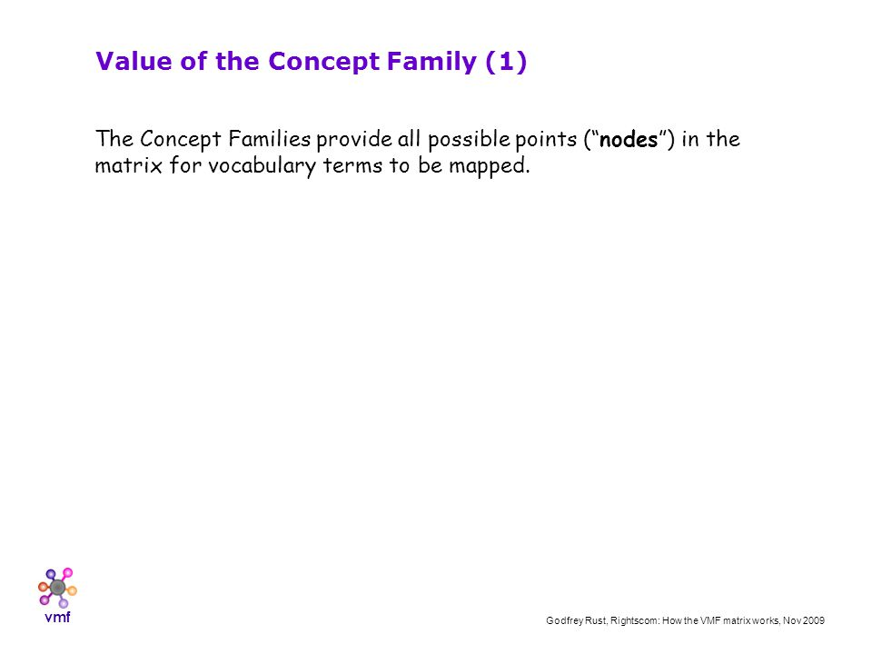 vmf Godfrey Rust, Rightscom: How the VMF matrix works, Nov 2009 Value of the Concept Family (1) The Concept Families provide all possible points (nodes) in the matrix for vocabulary terms to be mapped.
