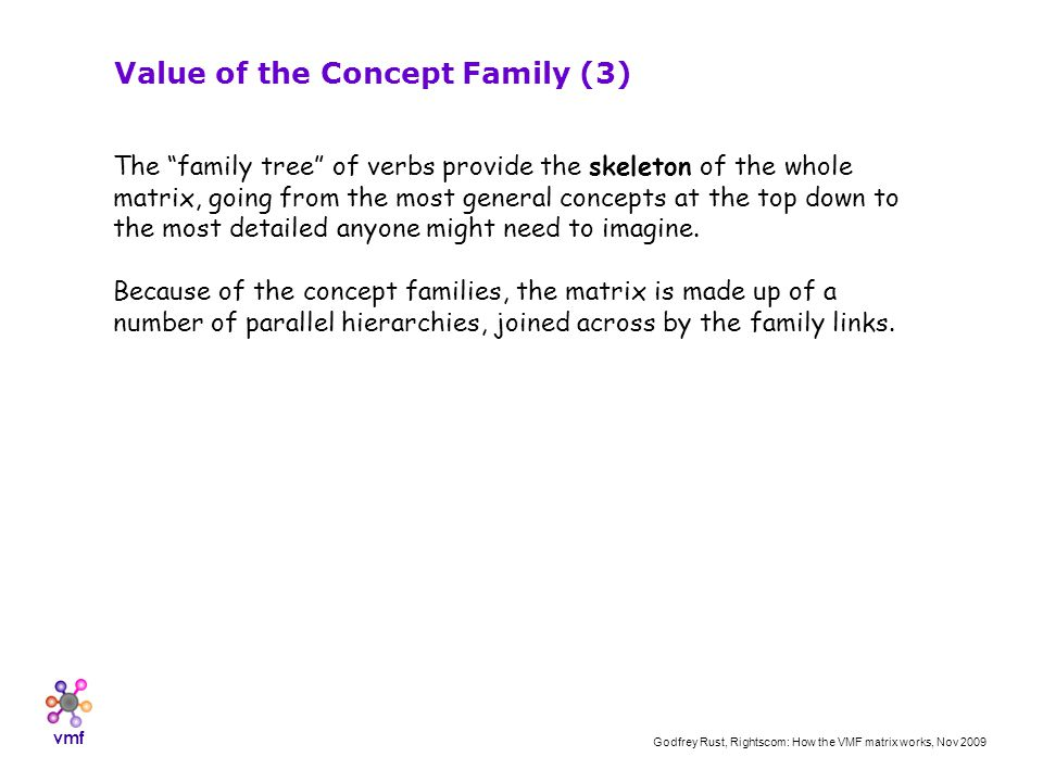 vmf Godfrey Rust, Rightscom: How the VMF matrix works, Nov 2009 Value of the Concept Family (3) The family tree of verbs provide the skeleton of the whole matrix, going from the most general concepts at the top down to the most detailed anyone might need to imagine.