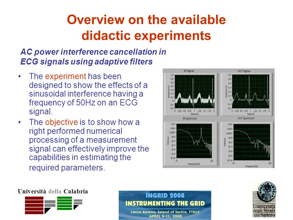Università della Calabria The experiment has been designed to show the effects of a sinusoidal interference having a frequency of 50Hz on an ECG signal.