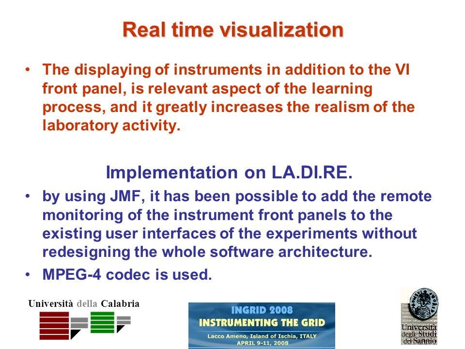 Università della Calabria Real time visualization The displaying of instruments in addition to the VI front panel, is relevant aspect of the learning