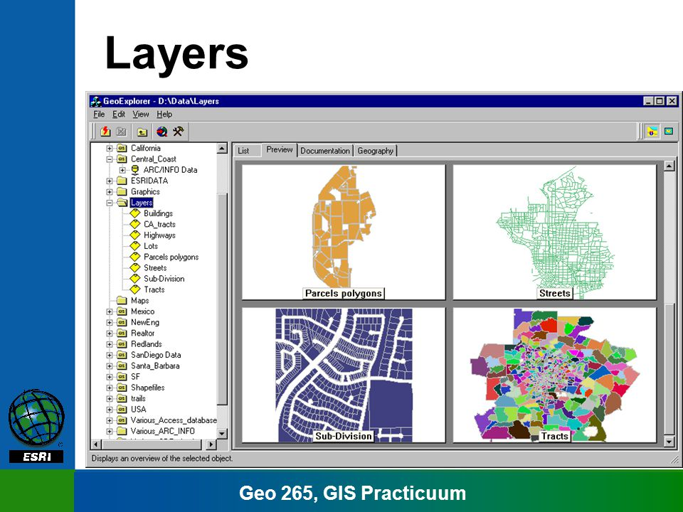 Geo 265, GIS Practicuum Layers