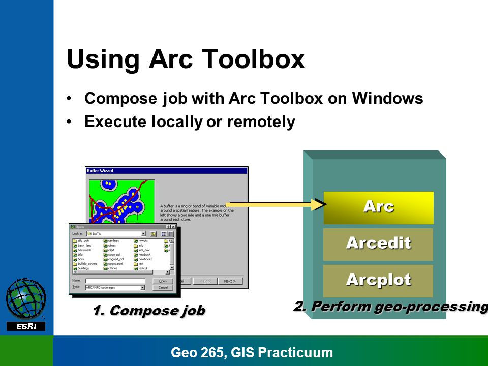 Geo 265, GIS Practicuum Using Arc Toolbox Compose job with Arc Toolbox on Windows Execute locally or remotely 1.
