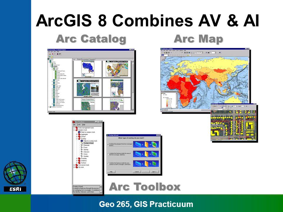 Geo 265, GIS Practicuum Arc Map Arc Catalog Arc Toolbox ArcGIS 8 Combines AV & AI