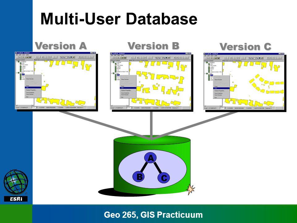 Geo 265, GIS Practicuum Multi-User Database A Version A B Version B C Version C